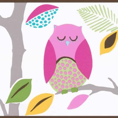 A.S. Création Tapetenbordüre 'Eulen auf Baum' für Mädchenzimmer