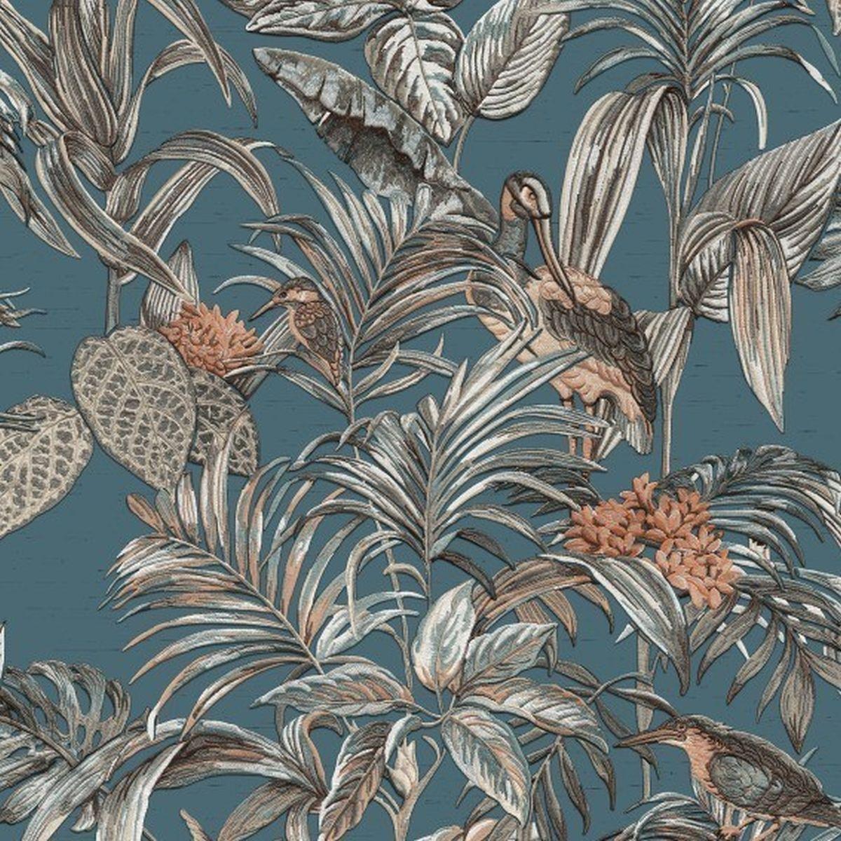 DesignID Vliestapete Erstklassige Wandbekleidung DE120016 Blau Blumentapete