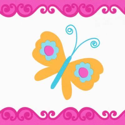 A.S. Création Mädchenbordüre mit Schmetterlingen