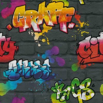 Rasch Jugendtapete 'Graffiti auf Steinwand'
