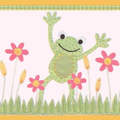 A.S. Création Vliestapetenborte 'Gartenleben' mit niedlichen Fröschen und fröhlichen Blumen