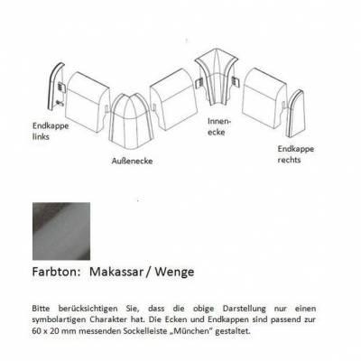Endkappen und Ecken für MDF-Sockelleisten - Makassar / Wenge