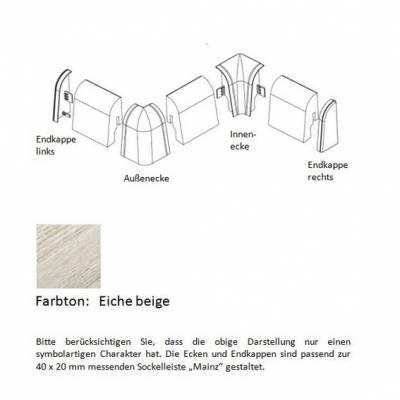 Endkappen und Ecken für MDF-Sockelleisten - Eiche beige