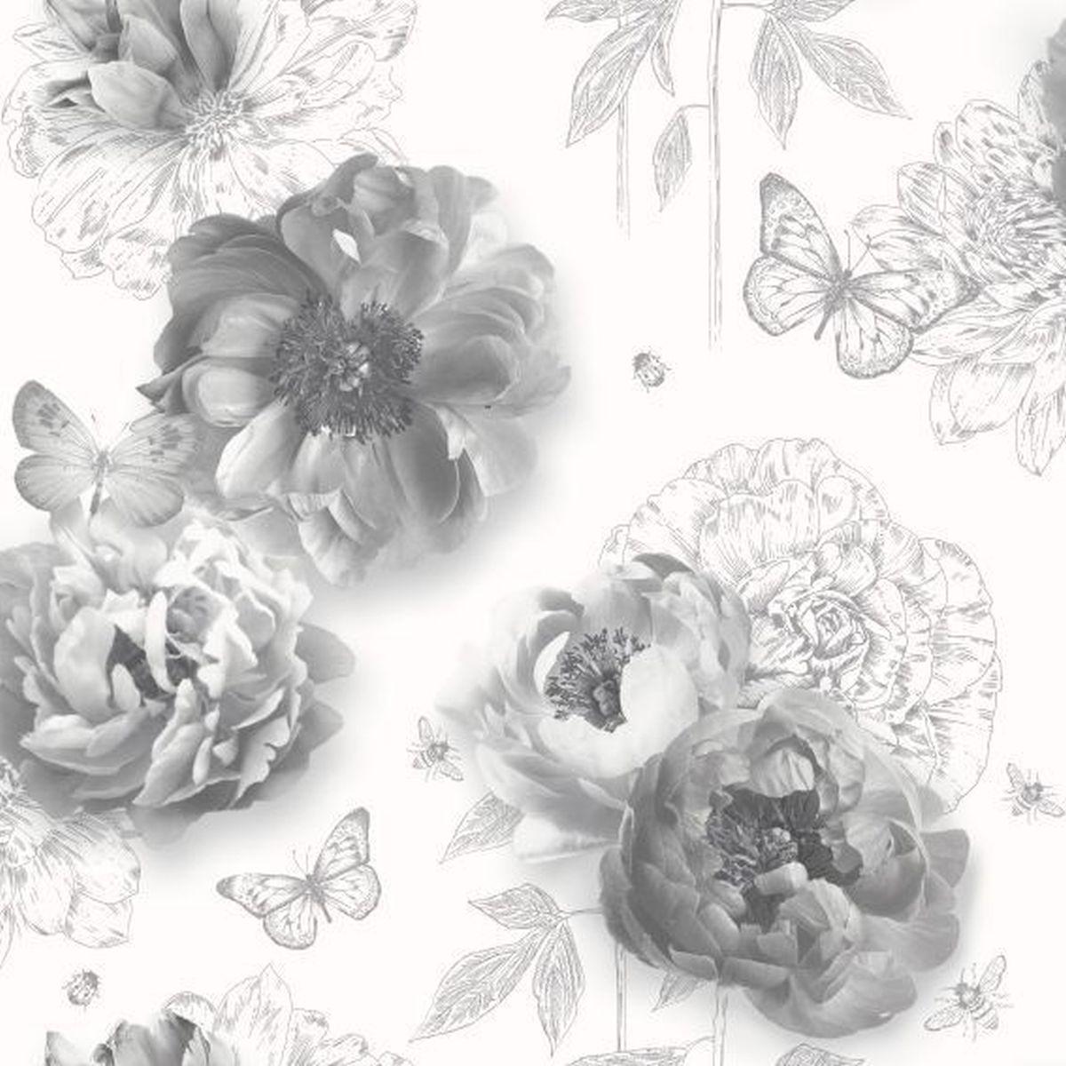 Best of Arthouse Vliestapete Qualitätsvolle Tapete 259201 Grau Blumentapete