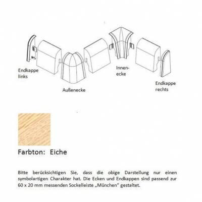 Endkappen und Ecken für MDF-Sockelleisten - Eiche