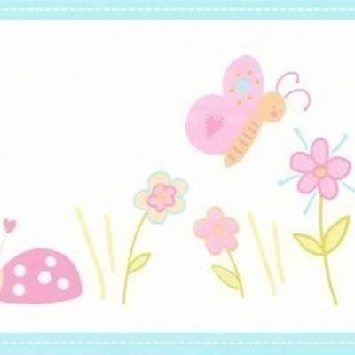 A.S. Création Tapetenborte 'Käfer und Blumen' für Babys und Mädchen