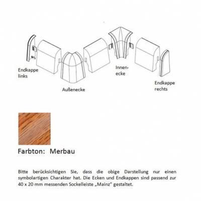 Endkappen und Ecken für MDF-Sockelleisten - Merbau