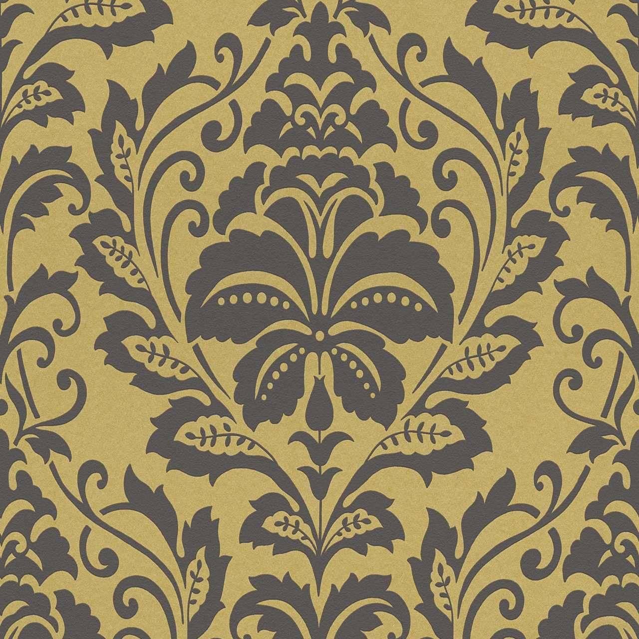Barocke Tapete in Schwarz und Gold