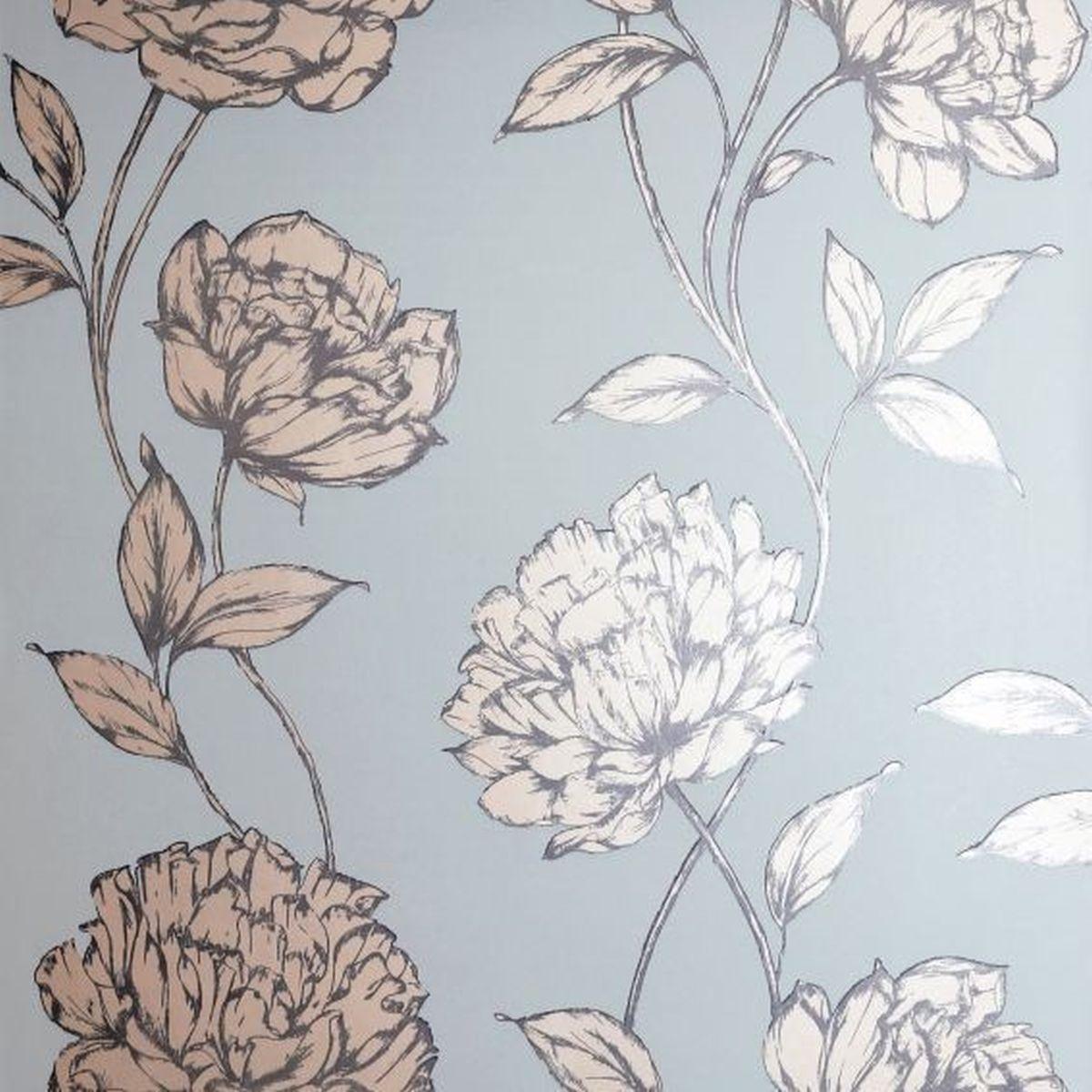 Best of Arthouse Vliestapete Erstklassige Tapete 688002 Grau Blumentapete