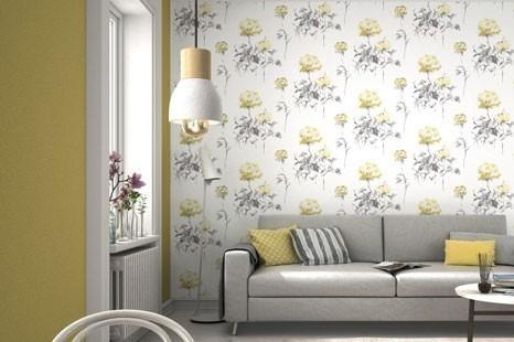 Gelbe Tapeten im Wohnzimmer