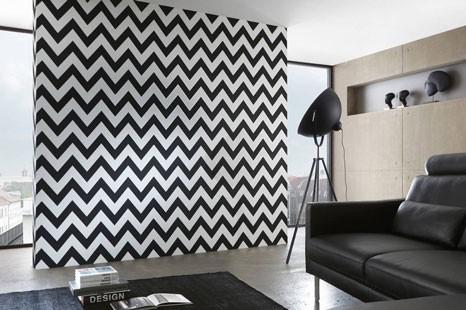 Mustertapete geometrisch, gemusterte Tapete schwarz weiß, Mustertapete schwarzweiß