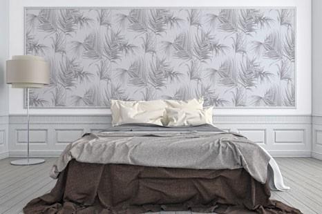 Schlafzimmer filigran, schlafzimmertapete grau, graue schlafzimmertapete