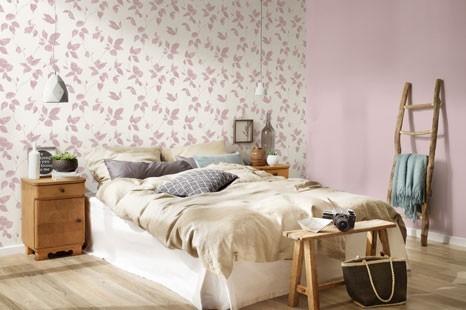 rosa schlafzimmertapete, schlafzimmer pastelltöne, tapete pastell