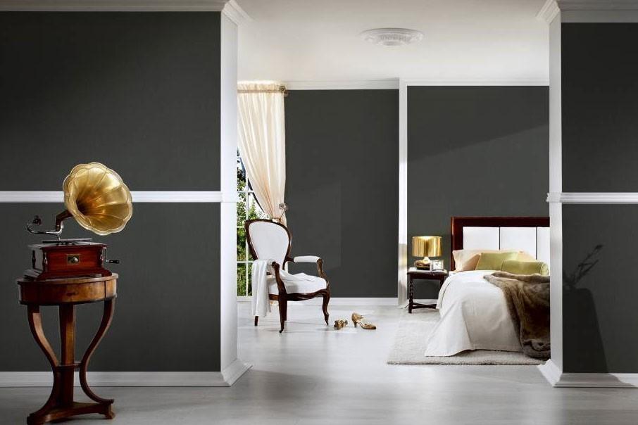 Schwarze tapete Wohnzimmer, elegante Tapete schwarz, schwarze Unitapete