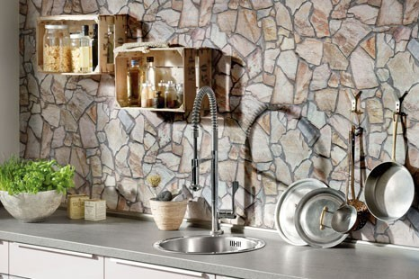 Steintapete Küche, Tapete Stein Küche, Steinoptik Küche Tapete