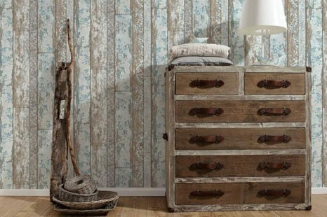 Schöne vintage Tapete in Holzoptik