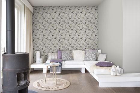 Blumentapete Wohnzimmer, Blumige Wohnzimmertapete, Tapete mit Blumen