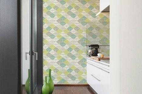 Moderne Küchentapete, Grüne Küchentapete, Tapete für die Küche